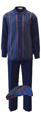 Mens Silver Silk 3pc Walking Leisure Suit and Matching Cap Set 5396 Navy Blue