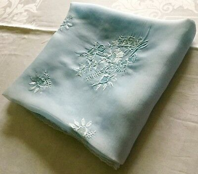 Exquisite Blue 48 Inch Square Madeira Organdy Embroidered Tablecloth