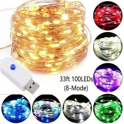 USB 50/100LED String Copper Wire Fairy Lights Wedding Xmas Party Fairy Decor @D