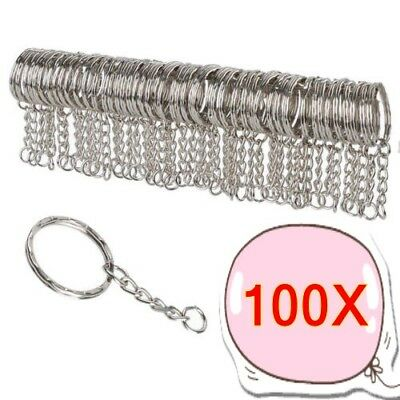 50/100X DIY 25mm Polished Silver Keyring Keychain Stainless  Chain Key Rings #