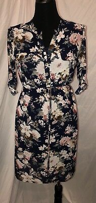Womens Siren Lily Maternity Dress Size Small Layered Floral Sheer Navy Blue