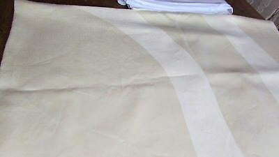 """Vintage Irish Linen 64"""" x 90"""" Butter Yellow Tablecloth Double Large Oval Pattern"""