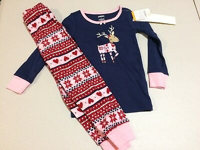 NWT Gymboree Christmas Girls Gymmies Reindeer Deer Pajama Set 12 18M,4,6