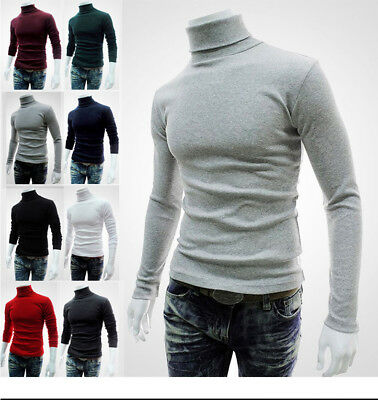 Cool Mens Male Cotton High Neck Shirts Pullover Jumper Sweater Tops Turtleneck