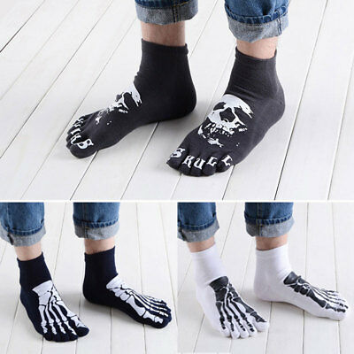 Punk Men's Skull Cotton Toe Socks Five Finger Short Ankle Socks Skeleton Socks