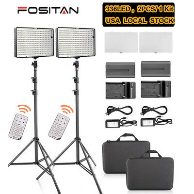 2 * 336PCS LED Video Camera  Photo DV Studio Lighting Kit + Battery +Light Stand