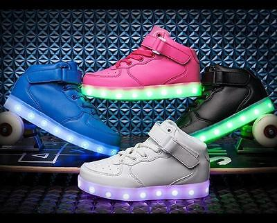 Girls Boys USB Color Light Up Shoes Kids Child High Top Luminous Casual Sneakers
