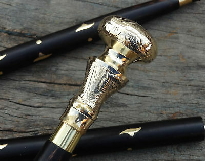 Vintage Solid Brass Knob Head Handle Victorian Style Wooden Walking Stick Cane