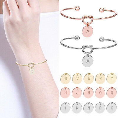 1PC Initial Letters Charm Love Knot Bangle Bracelet Rose Gold Silver Women Gift