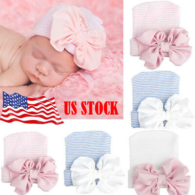 Newborn Baby Infant Girl Toddler Comfy Bowknot Hospital Caps Warm Beanie Hat US