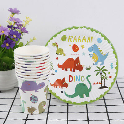 10pcs Dinosaur theme paper plates disposable paper cups birthday party decor new