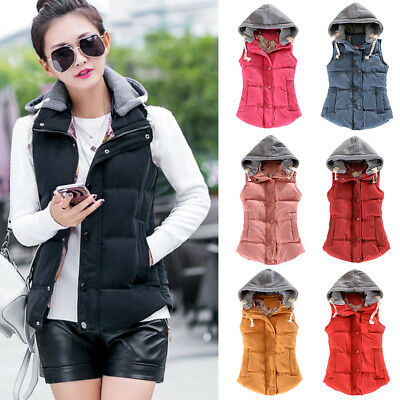 Warm Gilet Sleeveless Waistcoat Plus Size Winter Women Lady Vest Hooded Jacket