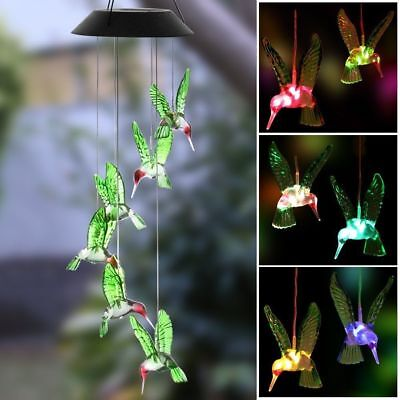 Solar Color Changing LED Hummingbird Wind Chimes Home Garden Decor Light Lamp DY