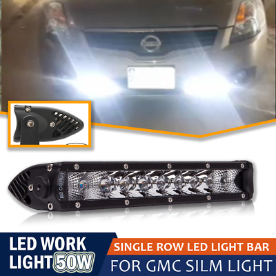 "10"" 50W Single Row Spot Flood LED Light Bar Driving Light Bar for Off Road Honda"