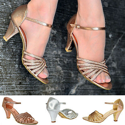Ladies Diamante Mid Heel Sandals Ankle Strap Wedding Prom Party Shoes size