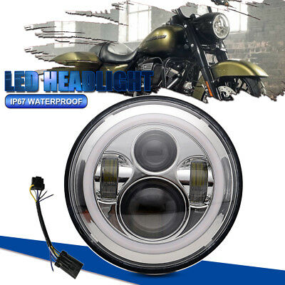 "1P x 7"" Round LED Headlight with Halo Angle Eyes For Jeep Wrangler JK LJ 97-17"