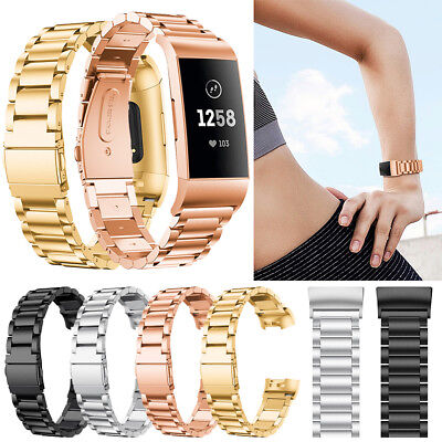 For Fitbit Charge 3 Replacement Wristband Strap Metal Wrist Watch Band Bracelet