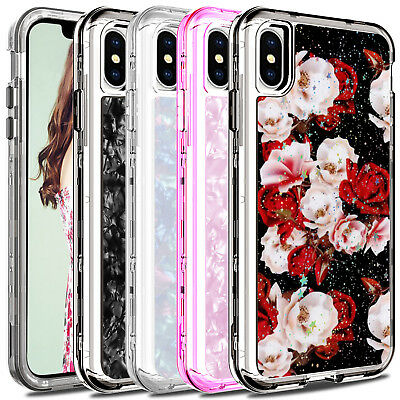 For Apple iPhone XS Max Case Shockproof Glitter Bling Hard Protective Full Cover