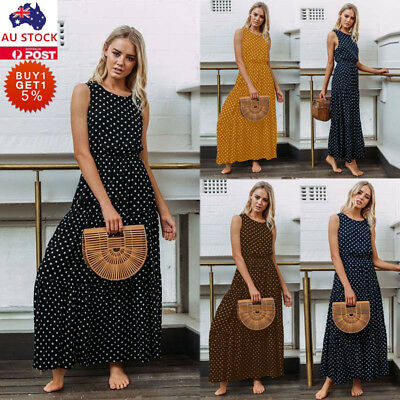 Women Summer Vintage Spotted Sleeveless Long Maxi Dress Holiday Beach Dress