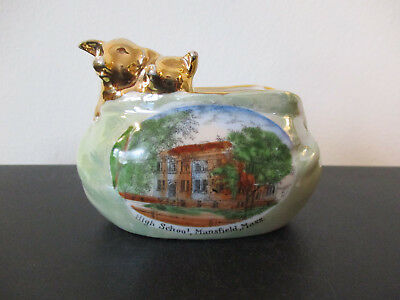 Circa 1915 Souvenir Porcelain Purse Pigs High School Mansfield Massachusetts *