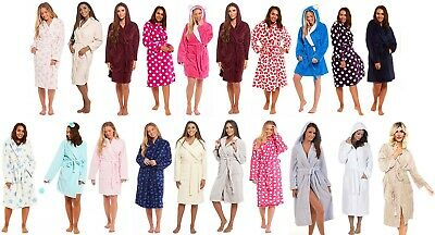 Ladies Dressing Gown Plain & Novelty Designs Shawl collar Hooded Bath Robe Girls