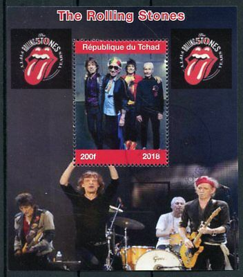 Chad 2018 CTO Rolling Stones Rock Band Mick Jagger 1v M/S Music Stamps