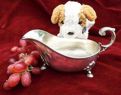 Antique vintage silver plated gravy boat jug Victorian Christmas table decor