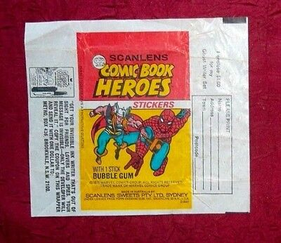 Rare Scanlens 1975  Bubble Gum Comic Book Heroes  Wax Wrapper Australia