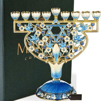 Hand Painted Enamel Menorah Candelabra with Doves & Flowers Design by Matashi