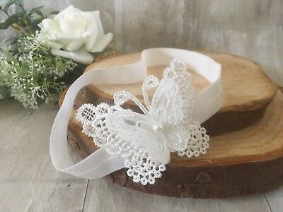 UK Baby Off White Christening Headband Baptism Wedding Photo Prop Butterfly