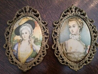 Two Vintage Victorian Wall Decor ~ Hand painted on Silk!