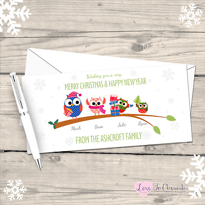 Gingerbread Characters PERSONALISED Family Christmas Cards Pack 5 10 15 or 20