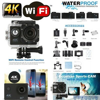 "2"" 4K Ultra 1080P HD 16MP Helm Action Camera Sports DV WiFi Cam 30m Waterproof"