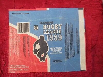 Scanlens Rugby League 1989 Bubble Gum  Wax Wrapper Australia