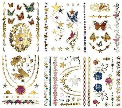 Metallic Mermaid Butterfly Temporary Tattoos - Over 75 Designs, Colorful Gold 6
