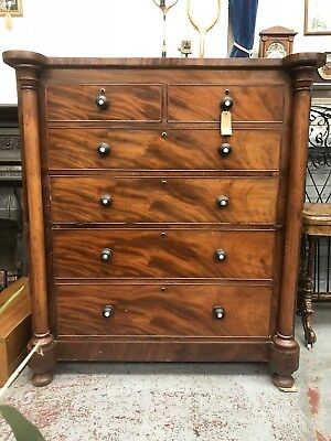 Victorian Mahogany Tall Chest Of Drawers 1800's Antique Almost 5ft Tall