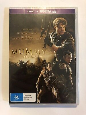 The Mummy Trilogy (DVD, 2017, 3-Disc Set) Brand New & Sealed Rated M Region 2/4