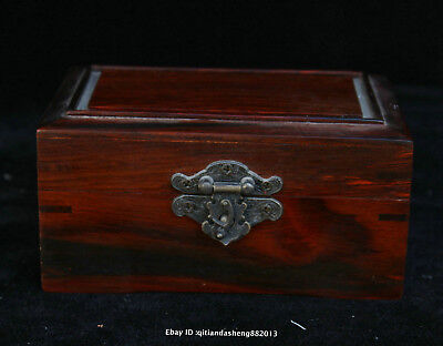 12.5CM Collect Chinese old Rosewood Handmade jewelry box wooden sculpture QFHK