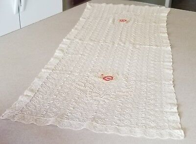 """Antique LACE Runner 42"""" X 16-1/2"""" Hand Embroidered FLOWERS Doilies dresser top"""