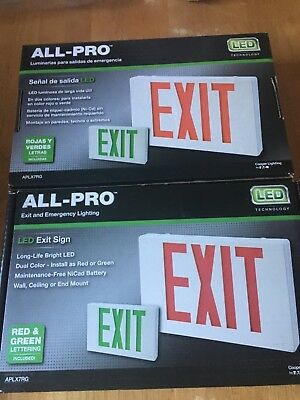 All-Pro Exit Emergency Light Ap Series 2 Color Red/Green LED Exit Sign 2 pack