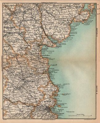 IRELAND EAST. Armagh Meath Down Louth Dublin. STANFORD 1908 old antique map
