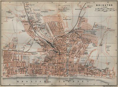 BRIGHTON antique town city plan. Sussex. BAEDEKER 1910 old map chart