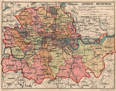 LONDON BOROUGHS. County of London. Municipalities 1932 old vintage map chart