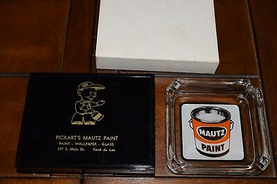 Vintage Mautz Paint Ashtray and Playing Cards Pickarts Fond du Lac WI Sealed