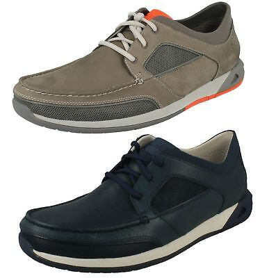 MENS CLARKS CASUAL Lace Up Moccasin Style Shoes 'Ormand Sail