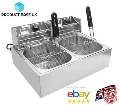 Commercial Deep Fat Fryer Chip Electric Stainless Tank Steel Basket Double 20L