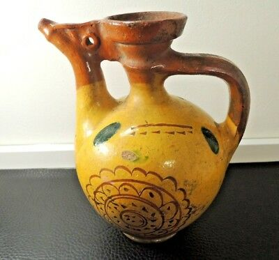 Antique Ottoman Islamic Canakkale  Pottery Art Ceramic Rooster Water Pitcher Jug