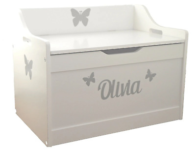 Silver Stickers + Personalised White Wooden Toy box Childs slow close safe lid