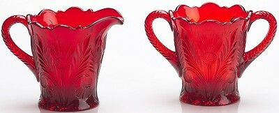 Creamer & Sugar Bowl - Inverted Thistle - Mosser USA - Red Glass