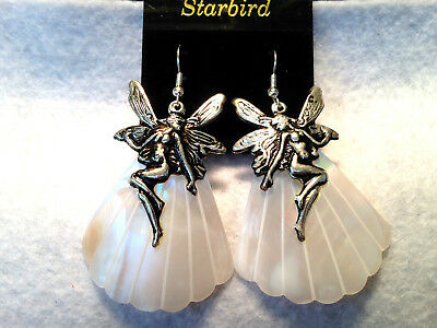 WHITE MOTHER OF PEARL SEA SHELL DANGLE WITH FAIRY CAP  EARRINGS 80's VINTAGE